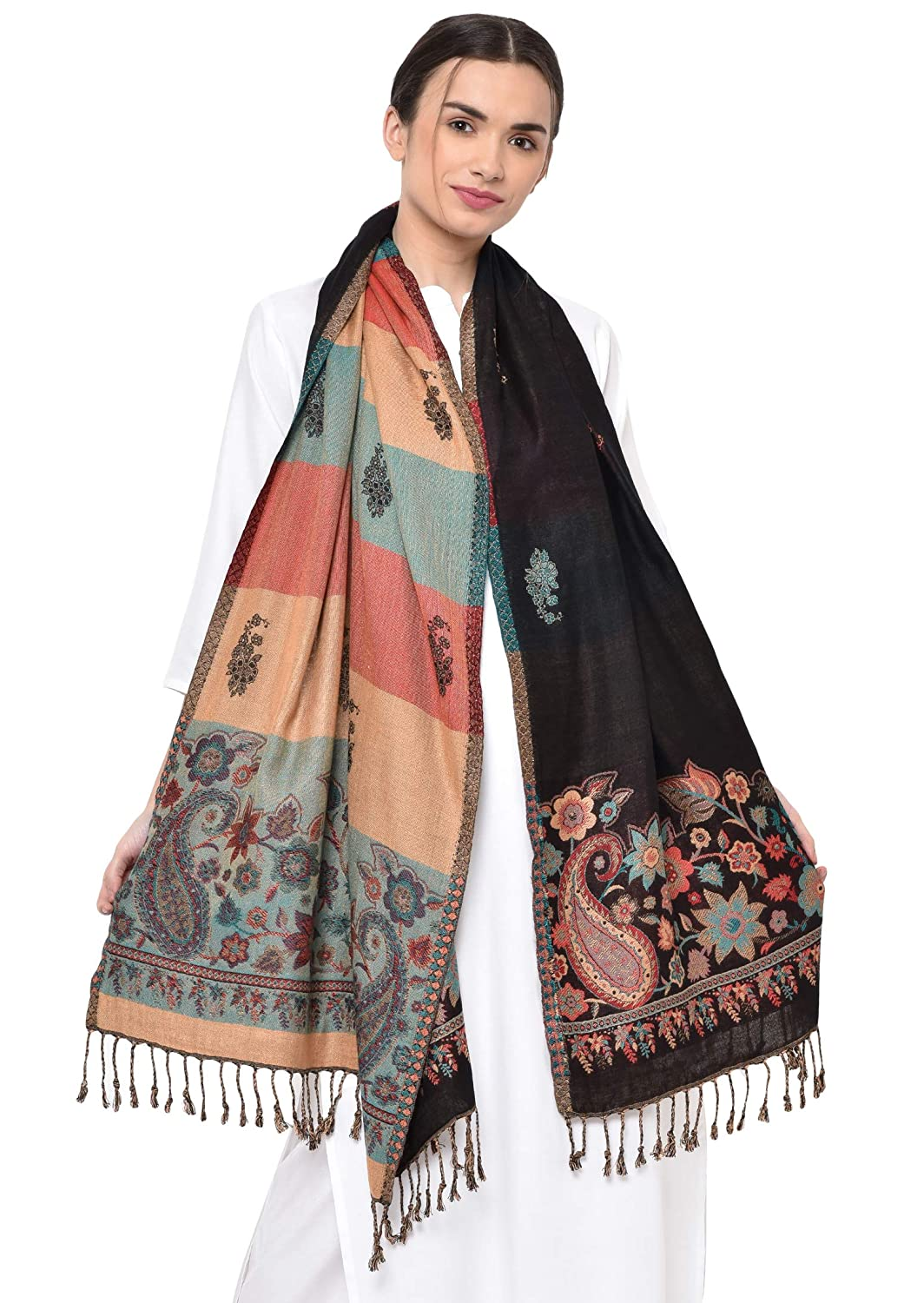 Weavers Villa Soft Viscose Kaju Buty Design Winter Stoles, Shawls (Black)