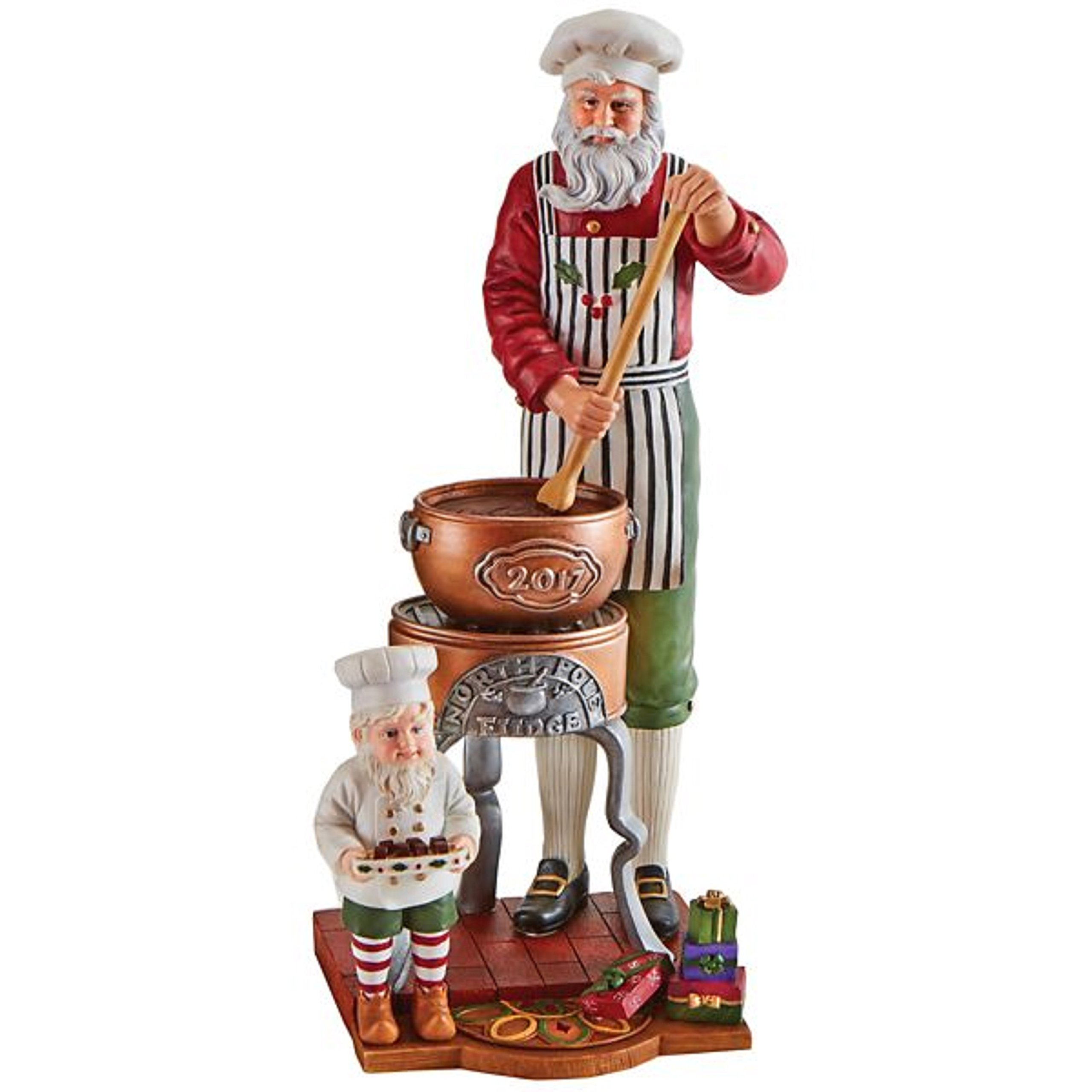 Lenox 2017 Pencil Santa Figurine Annual Santa's Fudge Shop Chocolate Boardwalk Christmas