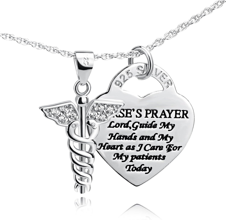 "YFN 925 Sterling Silver Caduceus Angel Nursing Themed Pendant Necklace 18"""