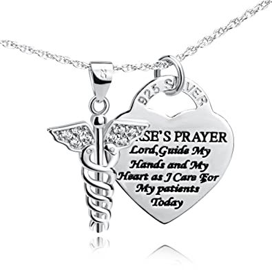 Amazon yfn sterling silver caduceus angel nursing themed yfn sterling silver caduceus angel nursing themed pendant necklace 18quot caduceus necklace mozeypictures Image collections