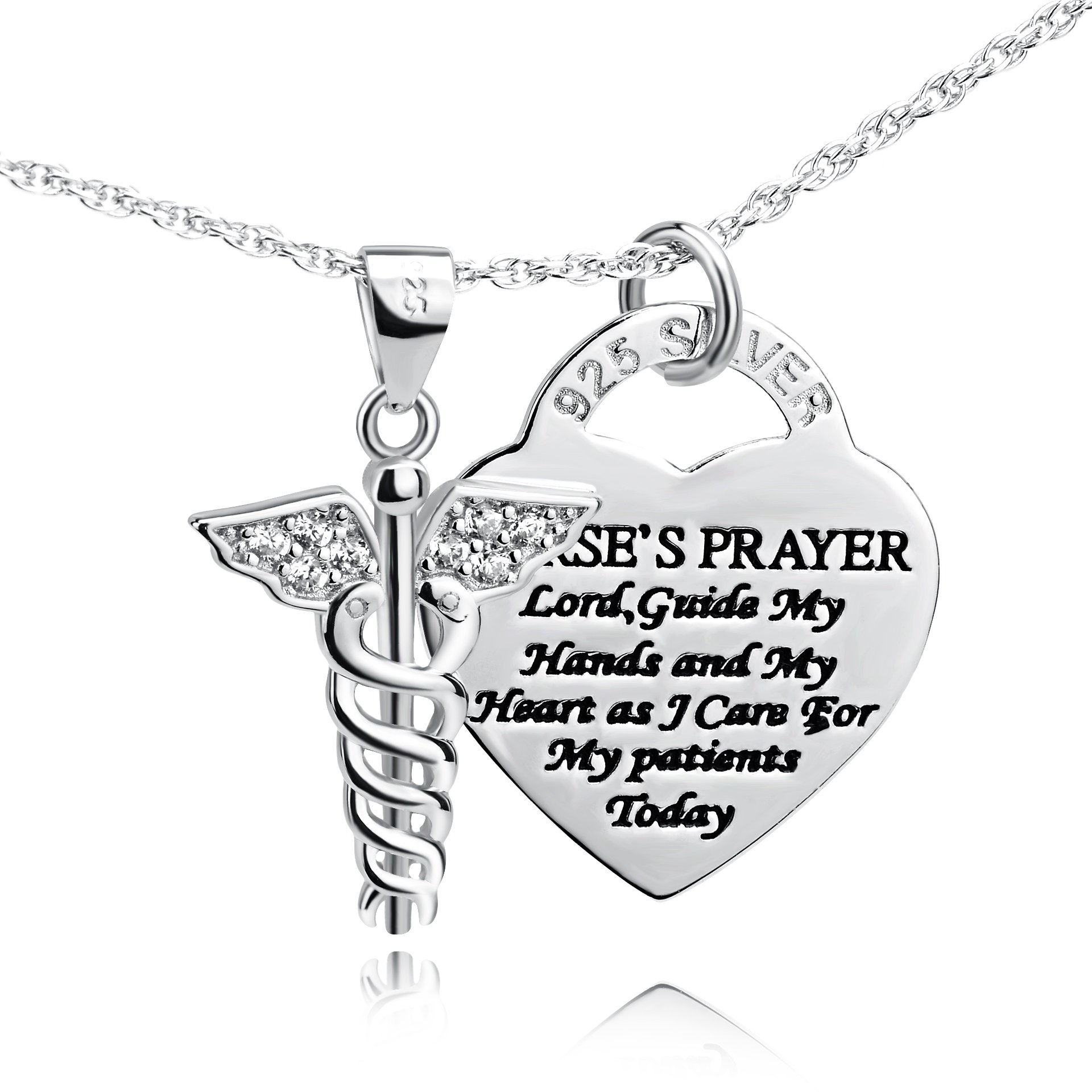YFN Sterling Silver Caduceus Angel Nursing Themed Pendant Necklace 18'' (Caduceus Necklace)