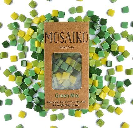 MOSAIKO Green Mix 300g (10 5oz) - Mosaic Glass Tiles for