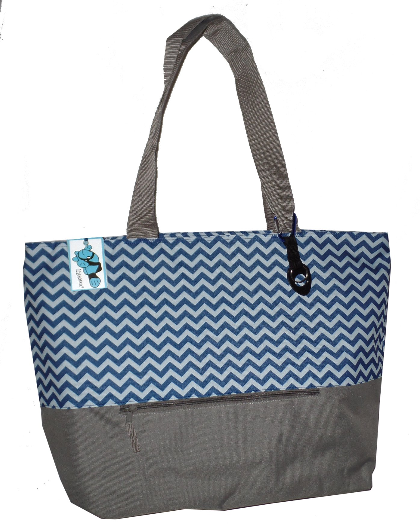 XL Beach Tote Chevron Print Weekender Bag with Mesh Webbed Handles and Outer Zippered PocketCan Be Personalized (Blank, Navy Blue)