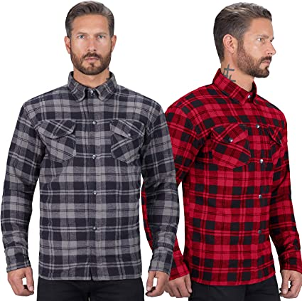 Highway 21 Marksman Mens Motorcycle Long Sleeve Flannel Shirt W//CE Armors//PE Back Armor Black//Red Size 3XL