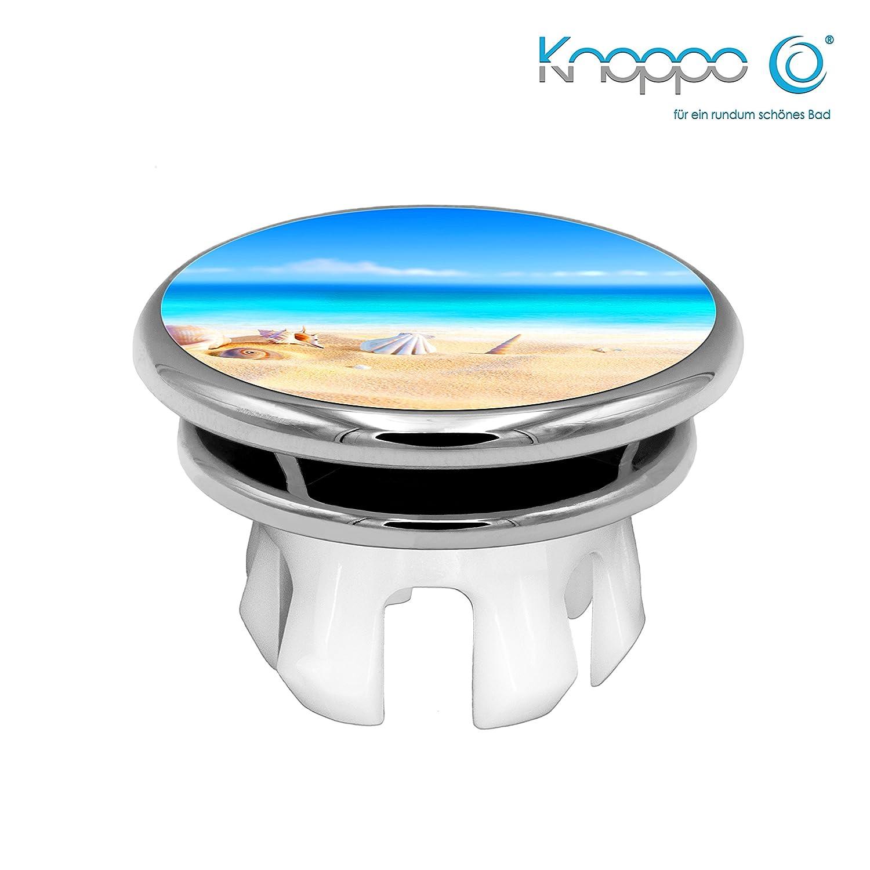 KNOPPO® Waschbecken Überlauf Abdeckung, Überlaufblende, Überlaufrosette - Mirror Strand Motiv (chrom)