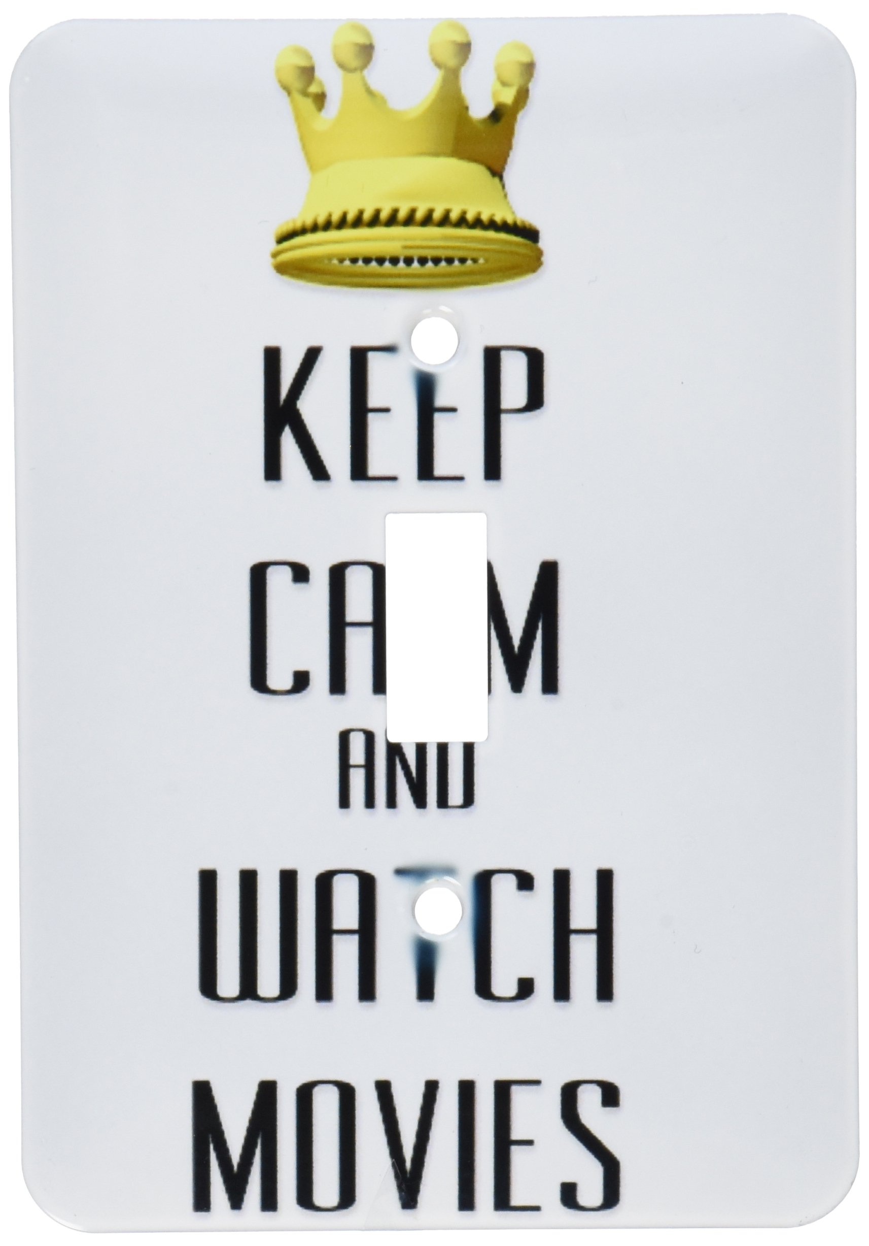 3dRose LLC lsp_120910_1 Gold Crown Keep Calm and Watch Movies Single Toggle Switch