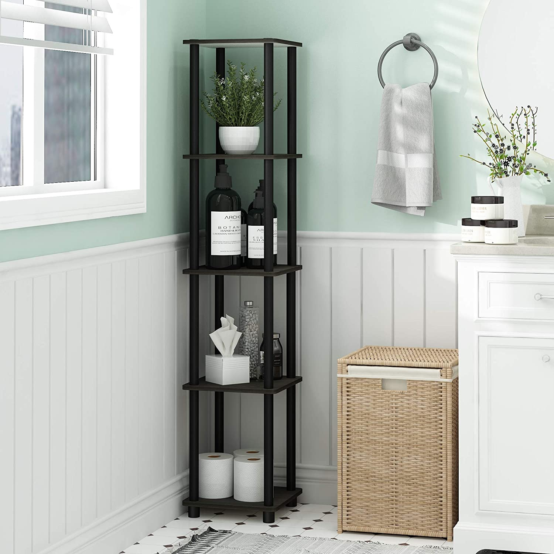 Furinno 99132EX//BK 5-Tier Corner Square Rack Display Shelf Dark Espresso