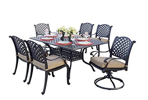 Darlee Nassau Cast Aluminum 7-Piece Dining Set with Seat Cushions and 42 by 72-Inch Rectangular Dining Table, Antique Bronze Finish