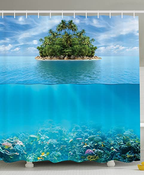 Elegant Underwater Shower Curtain Ocean Decor By Ambesonne, Reef Tropical Island  Palm Trees And Artistic Photography