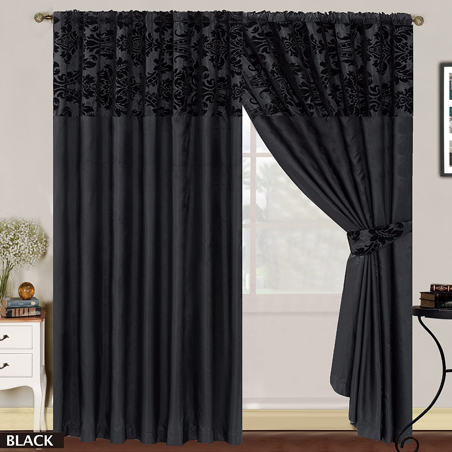 Black Curtains Part - 41: LUXURY Damask Curtains Pair Of Half Flock Pencil Pleat Window Curtain  Fusion(TM) (90x90, Black) By Fusion: Amazon.co.uk: Kitchen U0026 Home