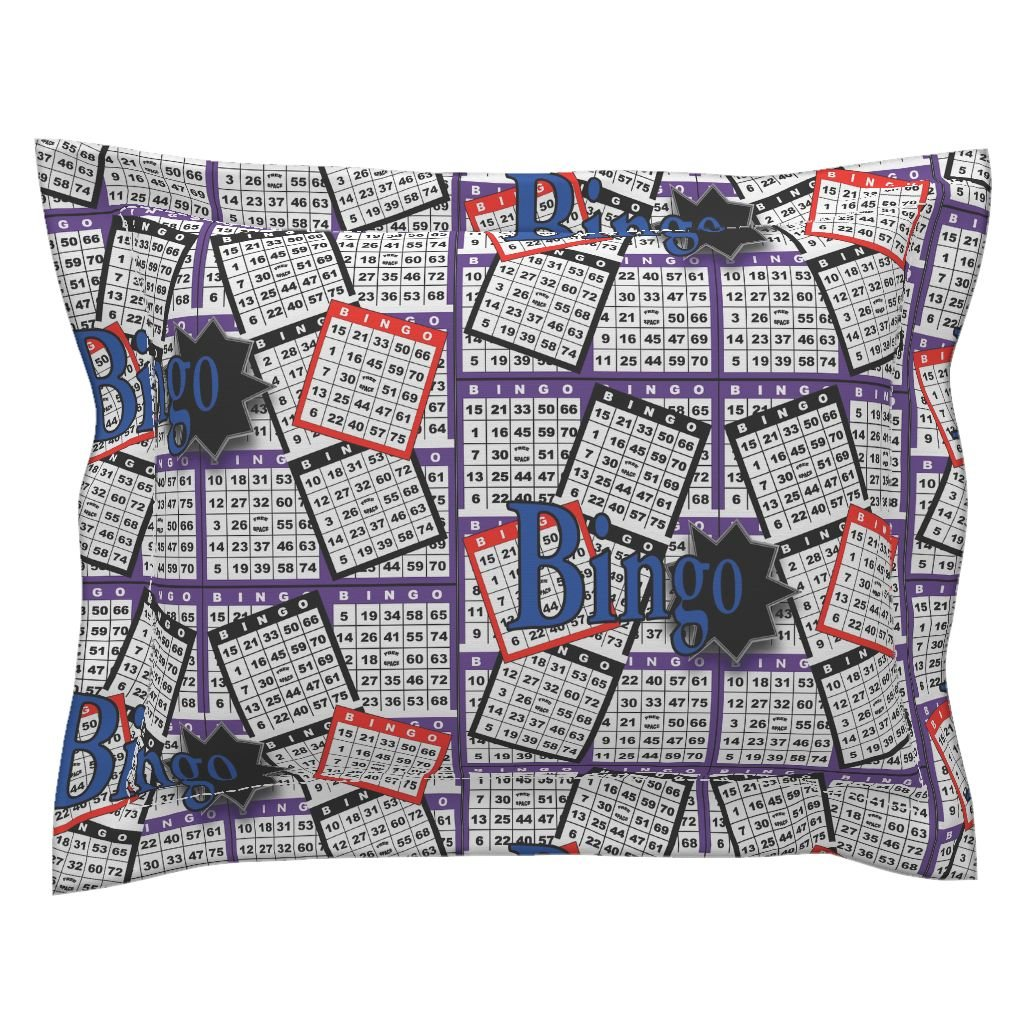 Roostery Bingo Standard Flanged Pillow Sham Bingo Cards by Dd BAZ Natural Cotton Sateen Made