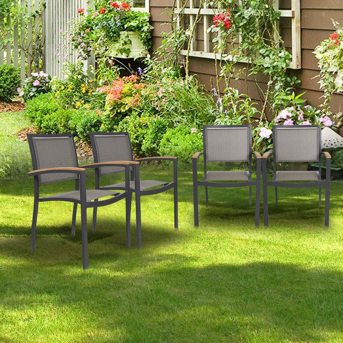 KARMAS PRODUCT 4 Pack Stackable Indoor/Outdoor Patio Dining Chairs with Teak Armrest,Textilene Mesh Fabric Aluminum Frame,Gray