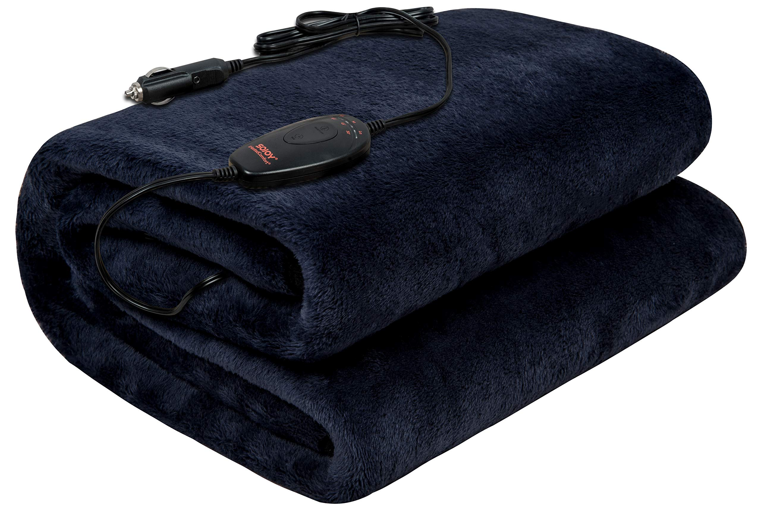 Sojoy 12V Heated Smart Multifunctional Travel Electric Blanket for Car, Truck, Boats or RV with High/Low Temp Control (55''x 40'') (Navy Blue) by Sojoy