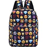 Backpack for girls boy cute school Backpack school bag emoji Backpack outdoor Daypack (Blue)