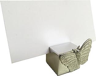 EinsSein 1x Tischkartenhalter Würfel Schmetterling Silber Tischkartenhalter Platzkartenhalter Namenskartenhalter