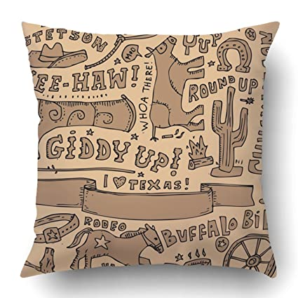 amazon com emvency throw pillow covers western full page doodle on