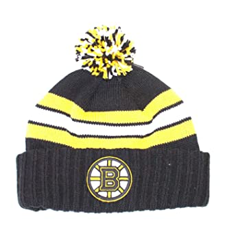 315ddbf53b9 ... discount code for nhl officially licensed boston bruins knit black  yellow striped cuffed pom beanie hat
