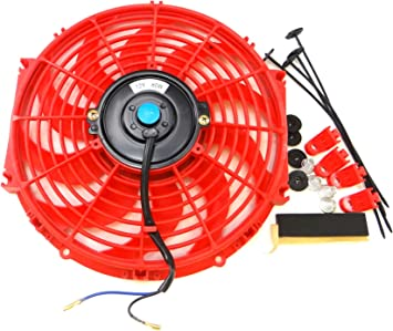 "RED 12/"" UNIVERSAL SLIM FAN PUSH PULL ELECTRIC RADIATOR COOLING 12V 1730 CFM NEW"