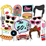 50's Diner Photo Booth Props Kit - 20 Pack Party Camera Props Fully Assembled
