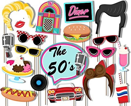 Amazoncom Birthday Galore 50s Diner Photo Booth Props Kit 20