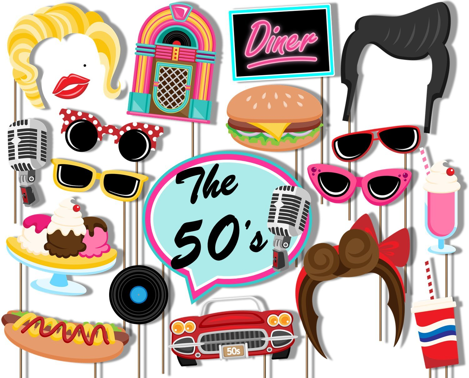 Birthday Galore 50's Diner Photo Booth Props Kit - 20 Pack Party Camera Props Fully Assembled