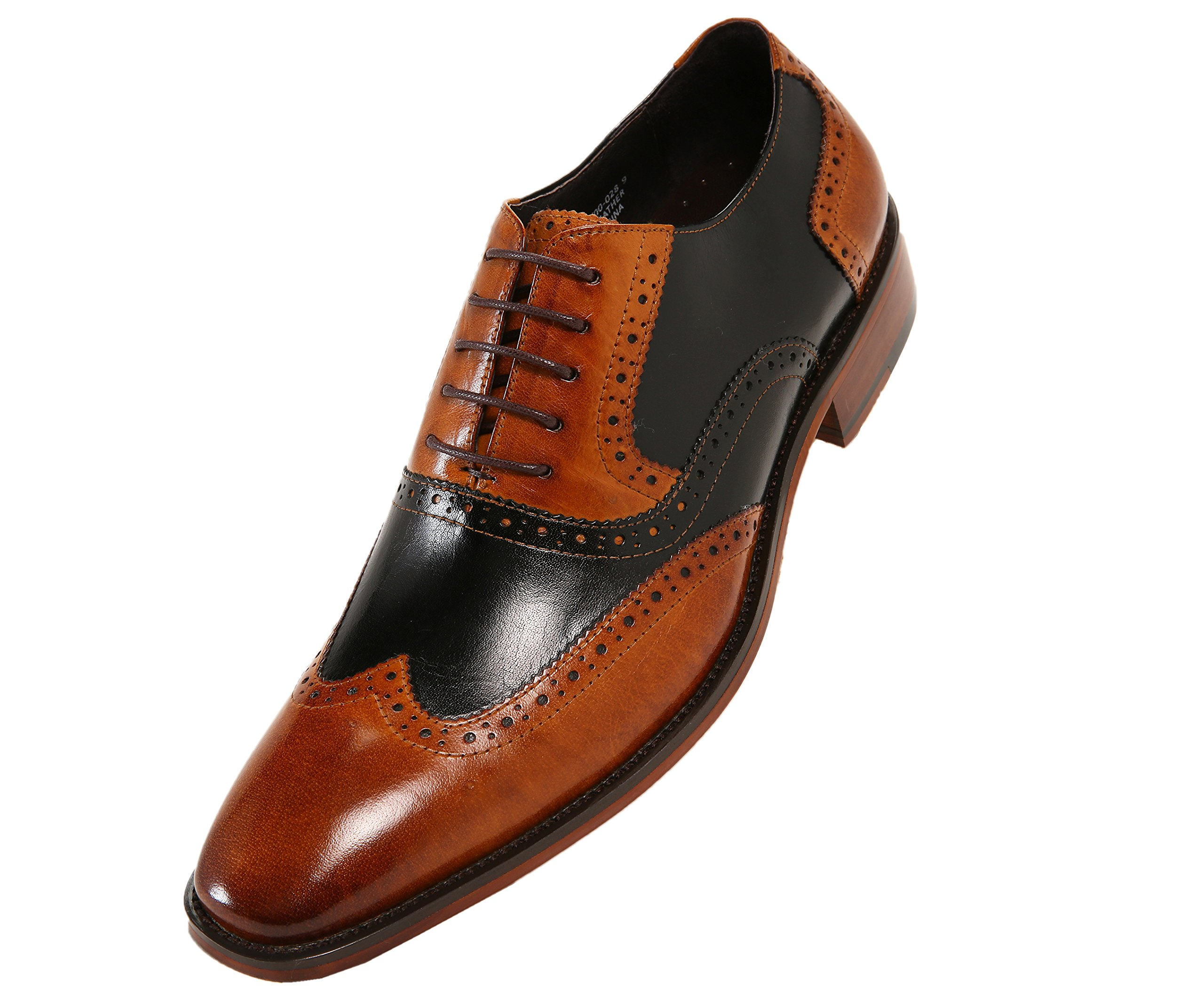 Asher Green Mens Two Tone Genuine Calf Leather Wingtip Spectator Oxford Dress Shoe, Low-Top or High-Top
