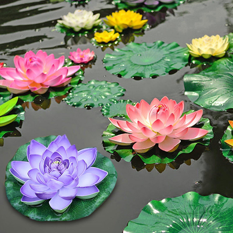 Justdolife 5PCS Flor Flotante Artificial Flor De Agua Artificial Planta De Espuma Decorativa Con Hojas De Lotus Falsos: Amazon.es: Hogar