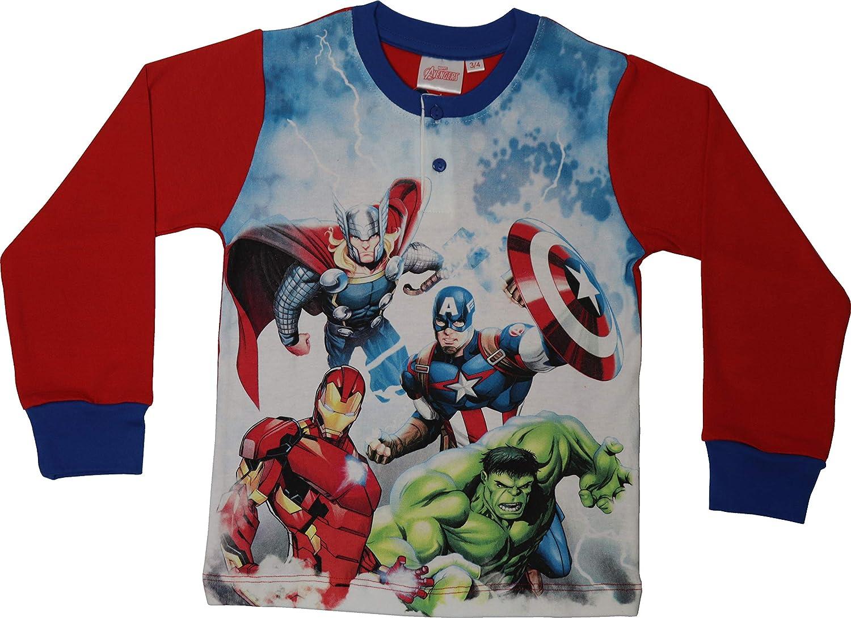 Pigiama Disney Avengers Bambino 100/% Cotone Interlock Maniche Lunghe