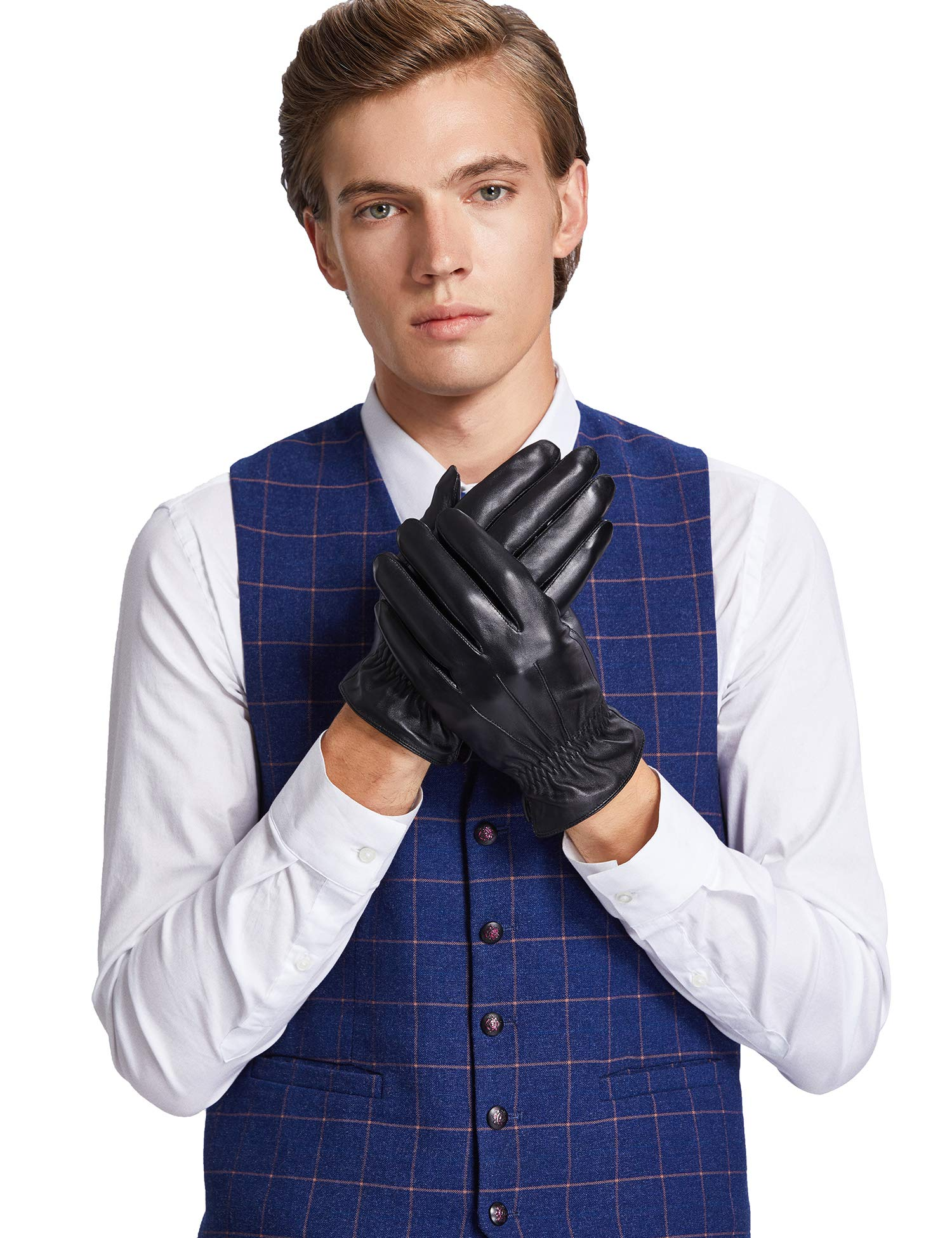 Sheeper Men's Touchscreen Winter Genuine Leather Classic Driving Gloves Motorcycle Gloves (Black) L