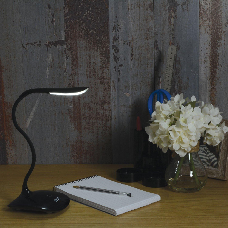 L/ámpara LED de mesa de LYYT 410.420UK dise/ño compacto de pl/ástico negro