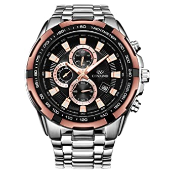 Cenxino Mens Rose Gold Chronograph Watches With Date Analog and Stainless Steel Bracelet