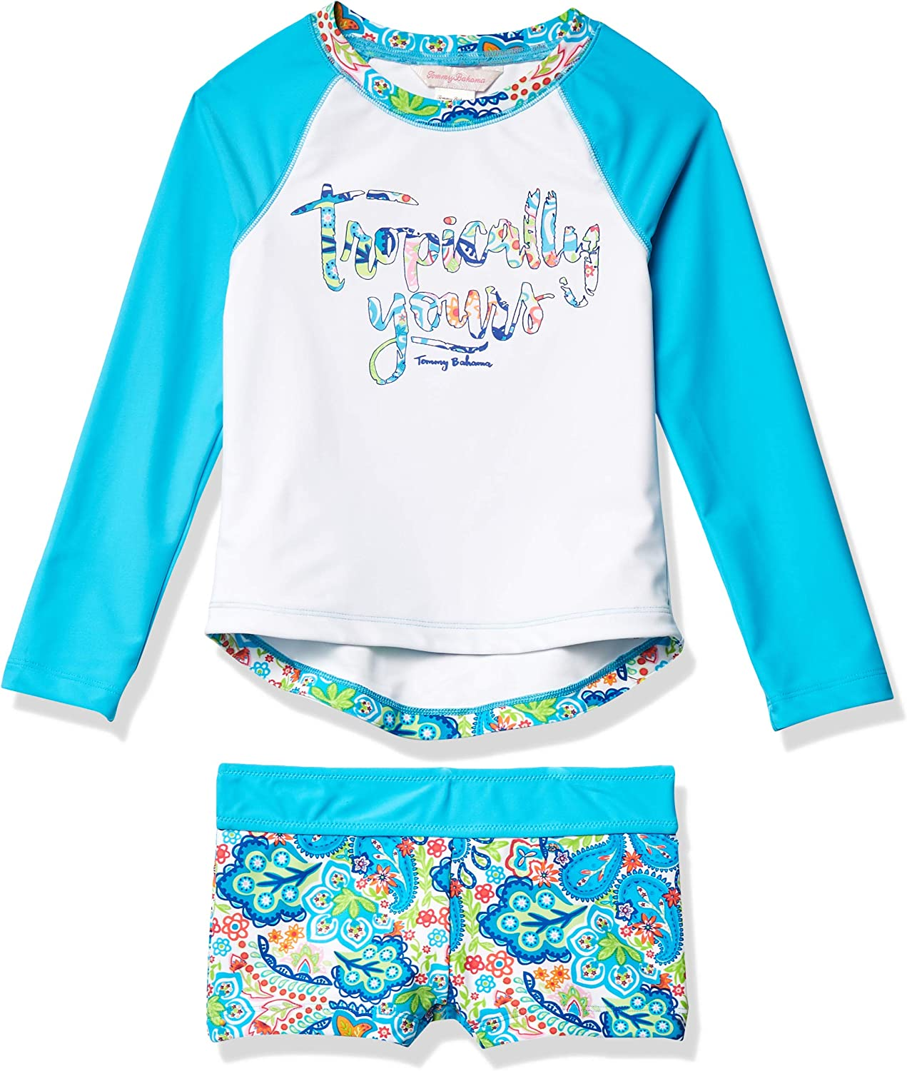 Tommy Bahama Girls Long Sleeve 2-Piece Rashguard Swimsuit Bathing Suit