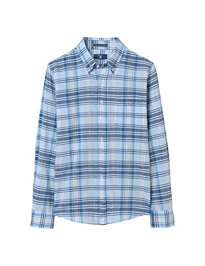 GANT Boys Authentic Indian Madras Shirt - Capri Blue - 7-8 Years   Amazon.co.uk  Clothing 79868c8f82