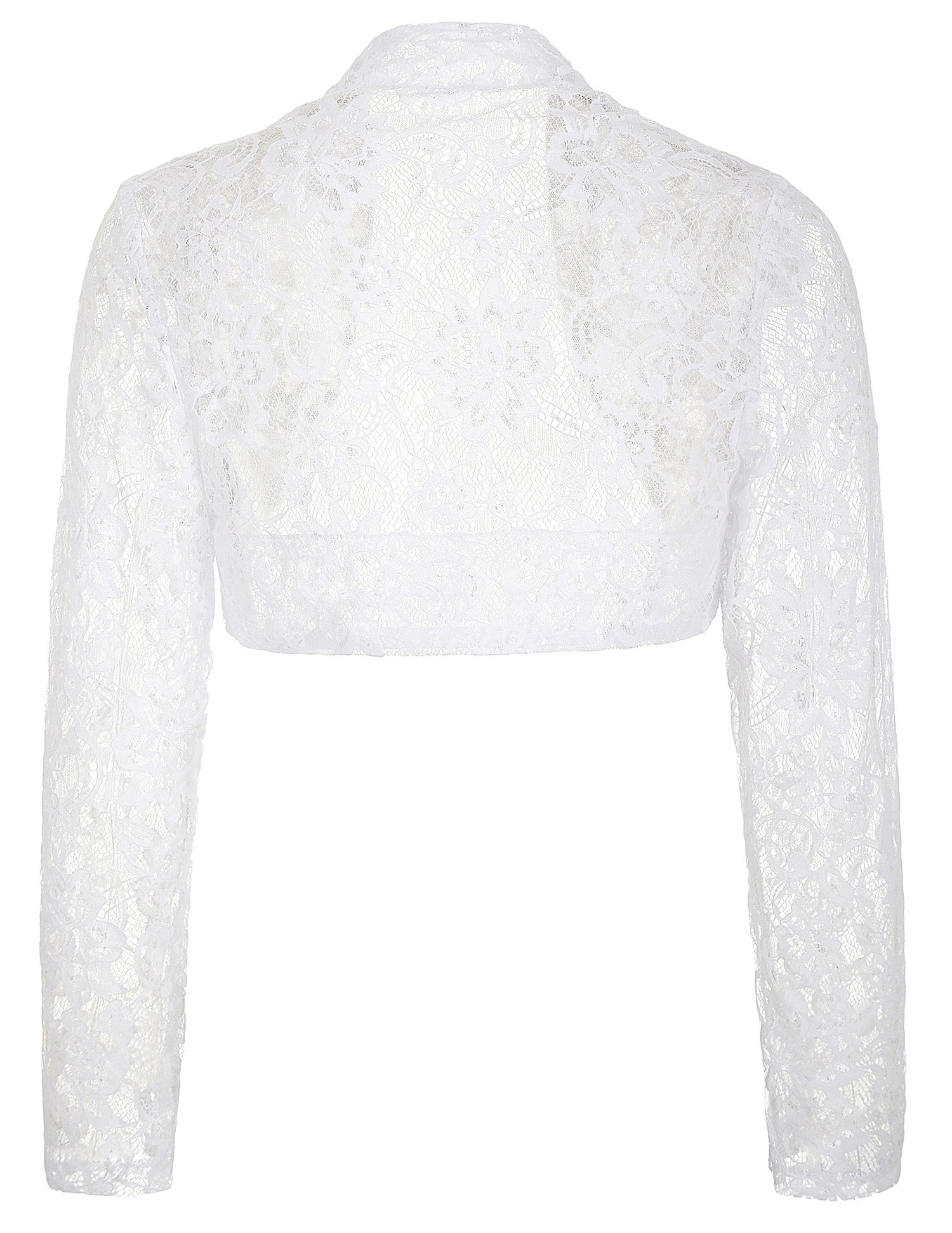 Women's Lace Crochet Bolero Hollow Sheer Knit Cardigan Top (XL, White) by JS Fashion Vintage Dress (Image #2)