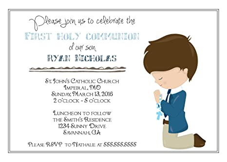 Customized Boys First Communion Invitation
