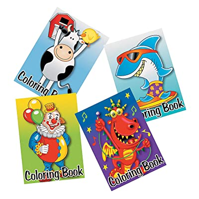 Fun Express Bulk Coloring Books (Set of 72) Cows, Dinosaurs, Clowns and Sharks and More: Toys & Games