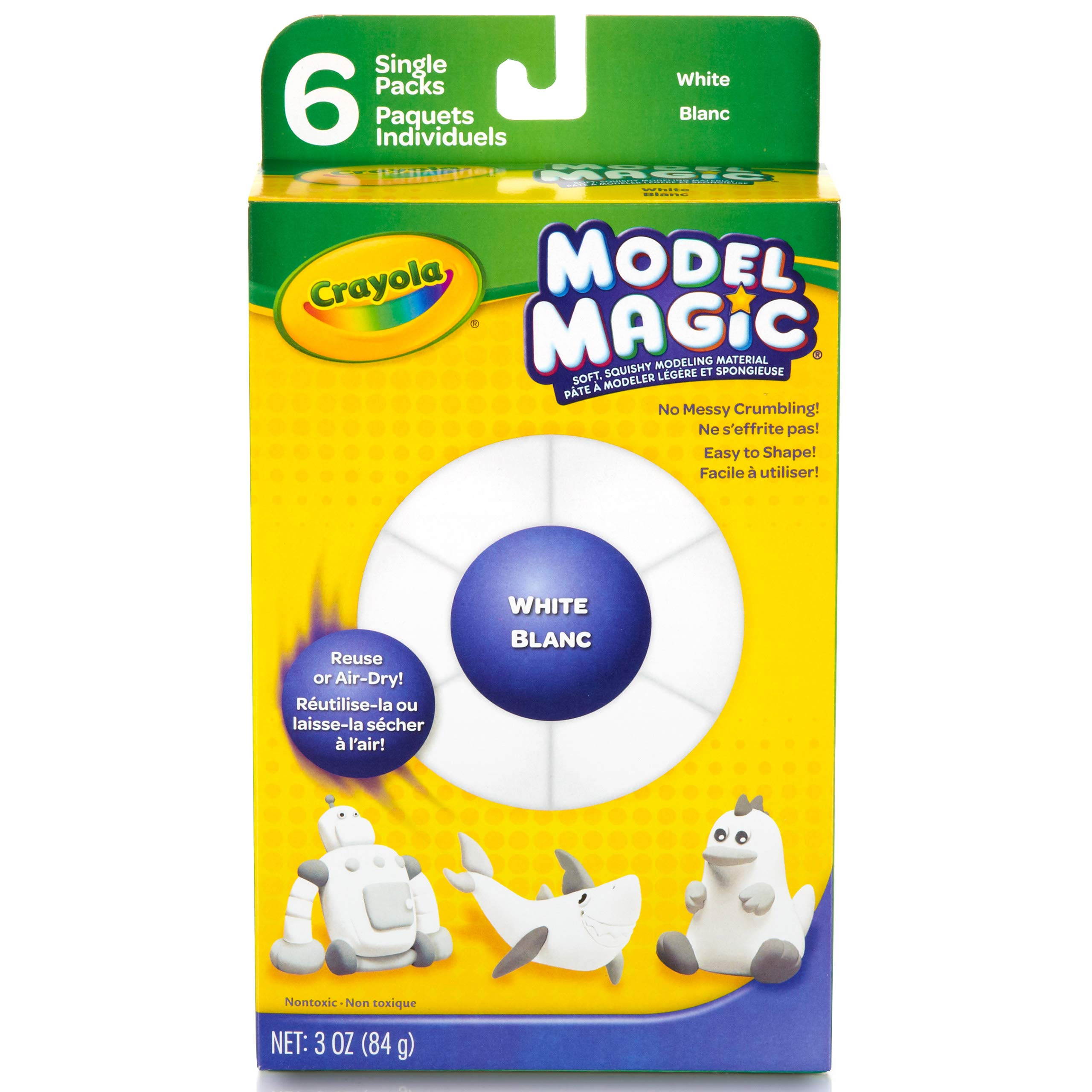 Crayola Model Magic Single Packs, White, .5oz Single Packs (6 Count Box), Crafts For Kids 4 & Up