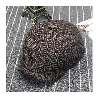 cea00851dfa Men Octagonal Berets Herringbone Gatsby Tweed Cap Newsboy Male Beret Peaky  Blinders Hat Spring Women Brown