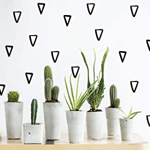 The Boho Design Vieli Arte Black Transparent Triangles Hand Drawn. Wall Vinyl Sticker Decal Decor Nursery 60 pcs. Adhesive Tribal Triangle for Kids Baby Bedroom Decoration. (Black)