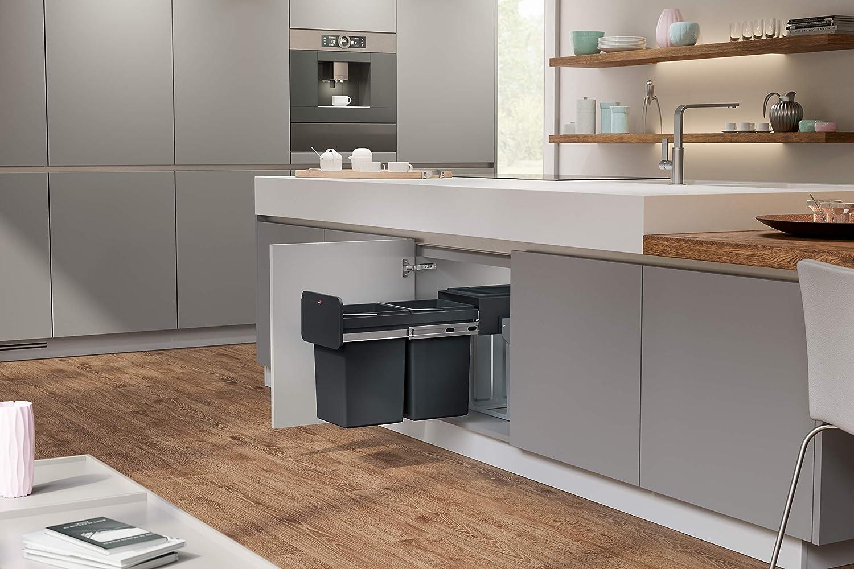 2 x14 l Schwarz Inneneimer 100/% recycelter Kunststoff Hailo EcoLine Design L Einbau-M/ülleimer