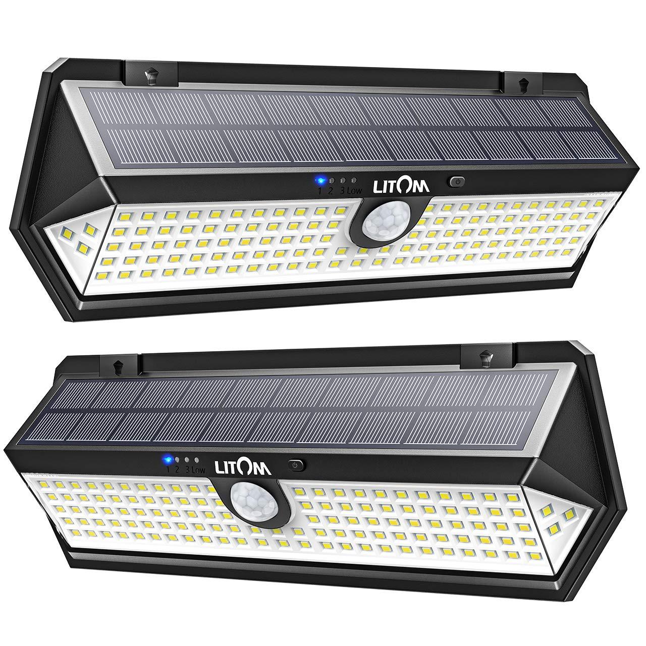 LITOM 122 LED Solar Lights Outdoor, 3 Sense Modes Auto Motion Sensor Lights with Front Switch, Indicator Lights, IP67 Waterproof Solar Security Light for Door, Garden, Deck, Porch-2 Pack by LITOM
