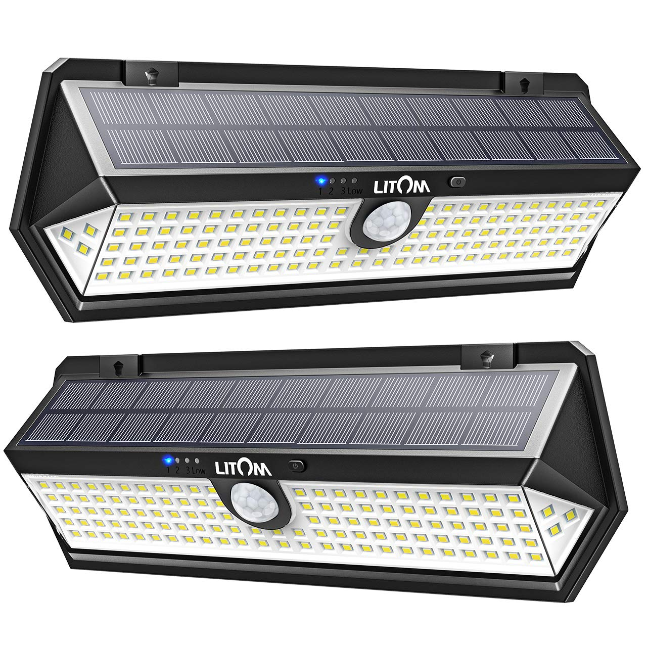 LITOM Solar Lights Outdoor Newest Version, 122 LED 1.8W Solar Motion Sensor Lights with 270°Wide Angle, Easy-to-Install, IP67 Waterproof Solar Lights for Front Door, Yard, Garage, Deck-2 Pack