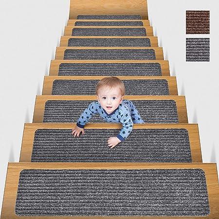 MBIGM 20cm X 76cm (Paquete de 15) Alfombras Antideslizantes Peldaños de Escalera Alfombrilla Antideslizante Interior para niños Mayores y Mascotas con Adhesivo Reutilizable, Gris: Amazon.es: Hogar