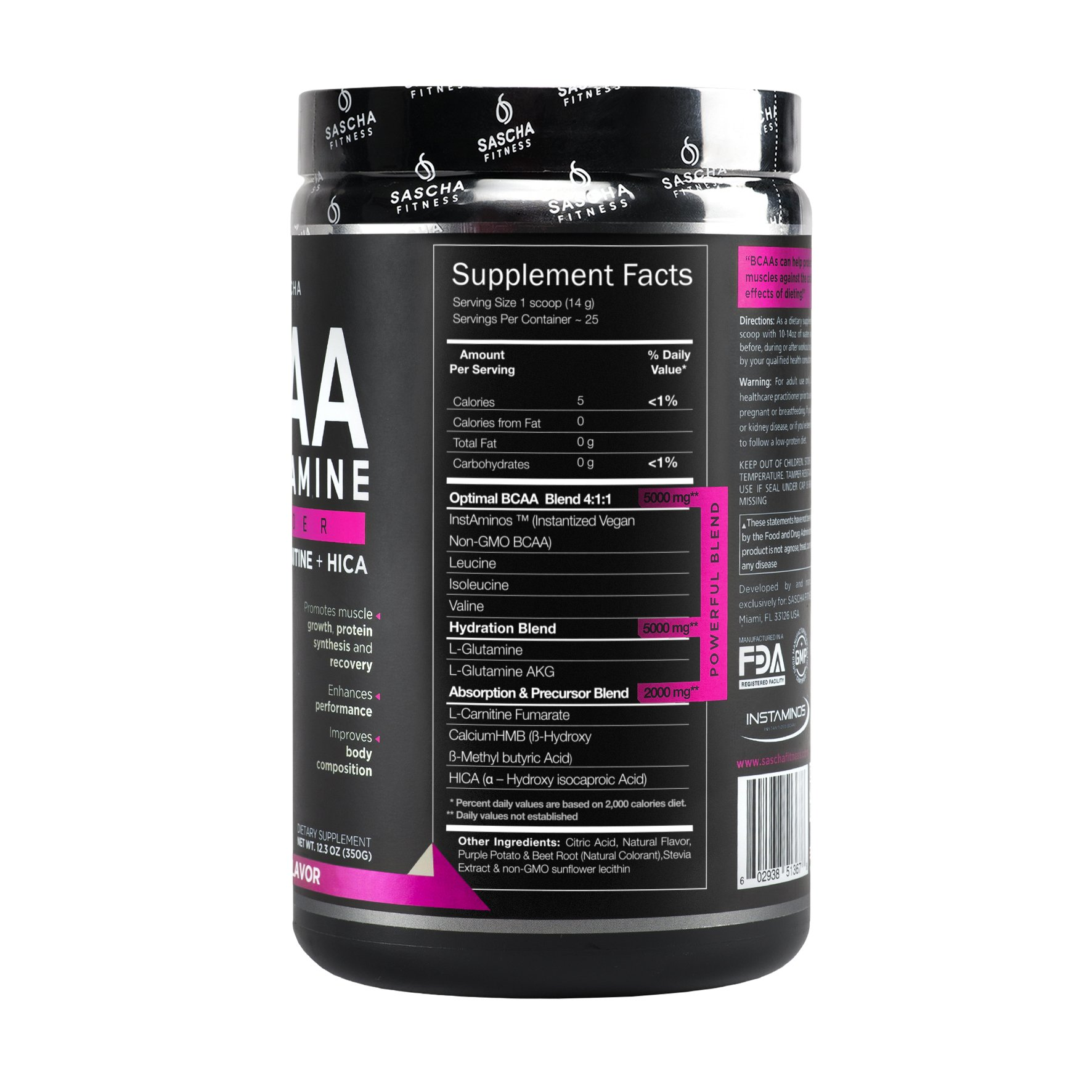 Sascha Fitness BCAA 4:1:1 + Glutamine, HMB, L-Carnitine, HICA | Powerful and Instant Powder Blend with Branched Chain Amino Acids (BCAAs) for Pre, Intra and Post-Workout | Natural Grape Flavor, 350g by SASCHA FITNESS (Image #6)