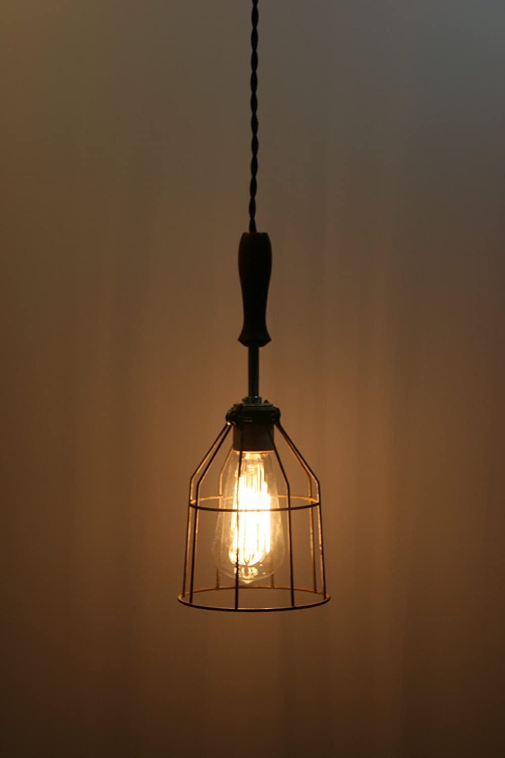 Industrial Hanging Pendant Light With Wood Handle And Vintage Style Wire  Cage Guard   Hanging Lamp   Built By Hand In The USA By Industrial Rewind    Ceiling ...