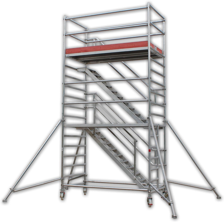 A&M de las escaleras de la torre Eiffel de altura de trabajo de 14,0 M de equilibrio de madera de aluminio, con ruedas, ruedas del andamio/Torres de los Rolling/huida de escalera/plataforma de