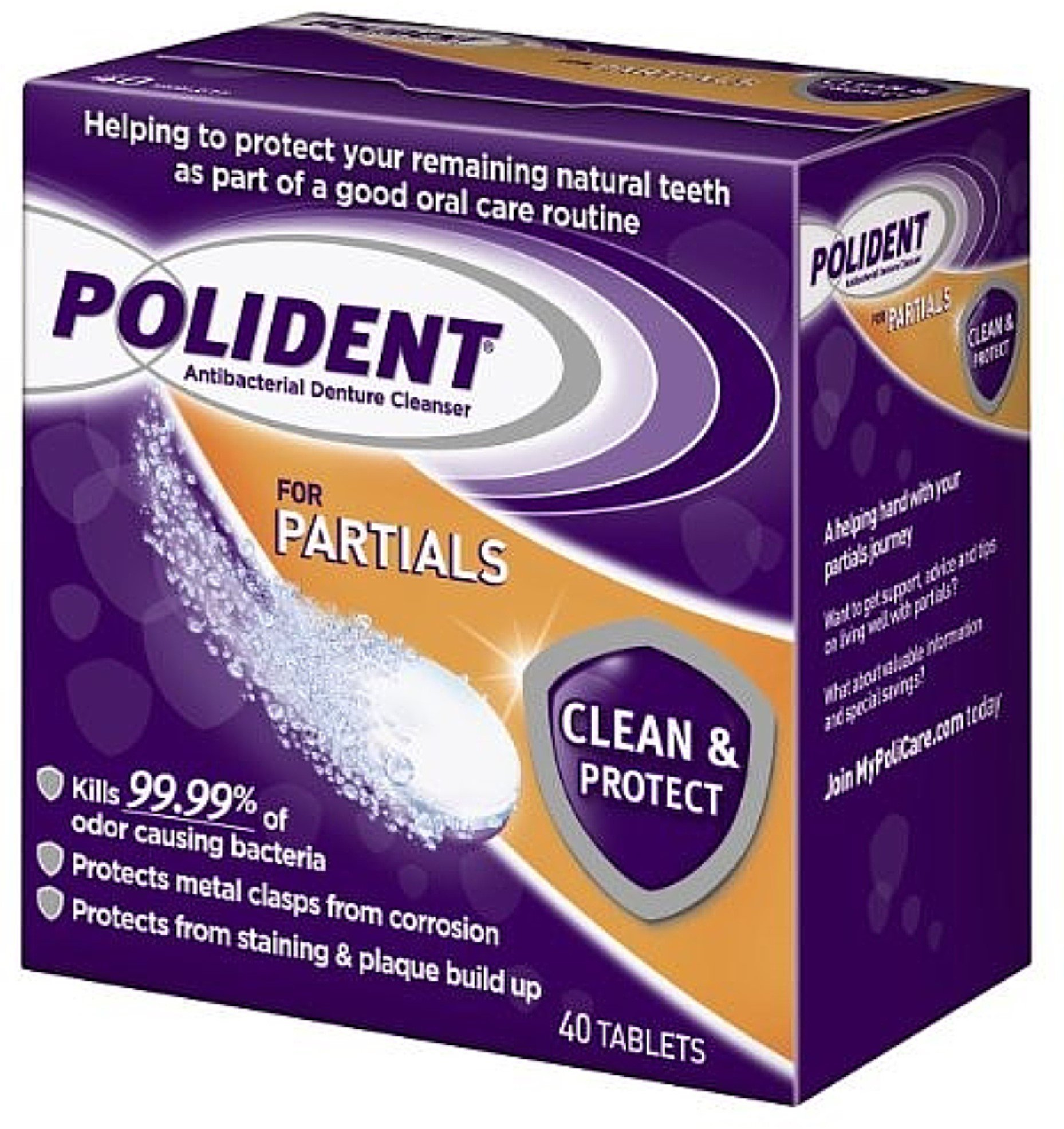 Polident Partials, Antibacterial Denture Cleanser 40 ea (Pack of 7)