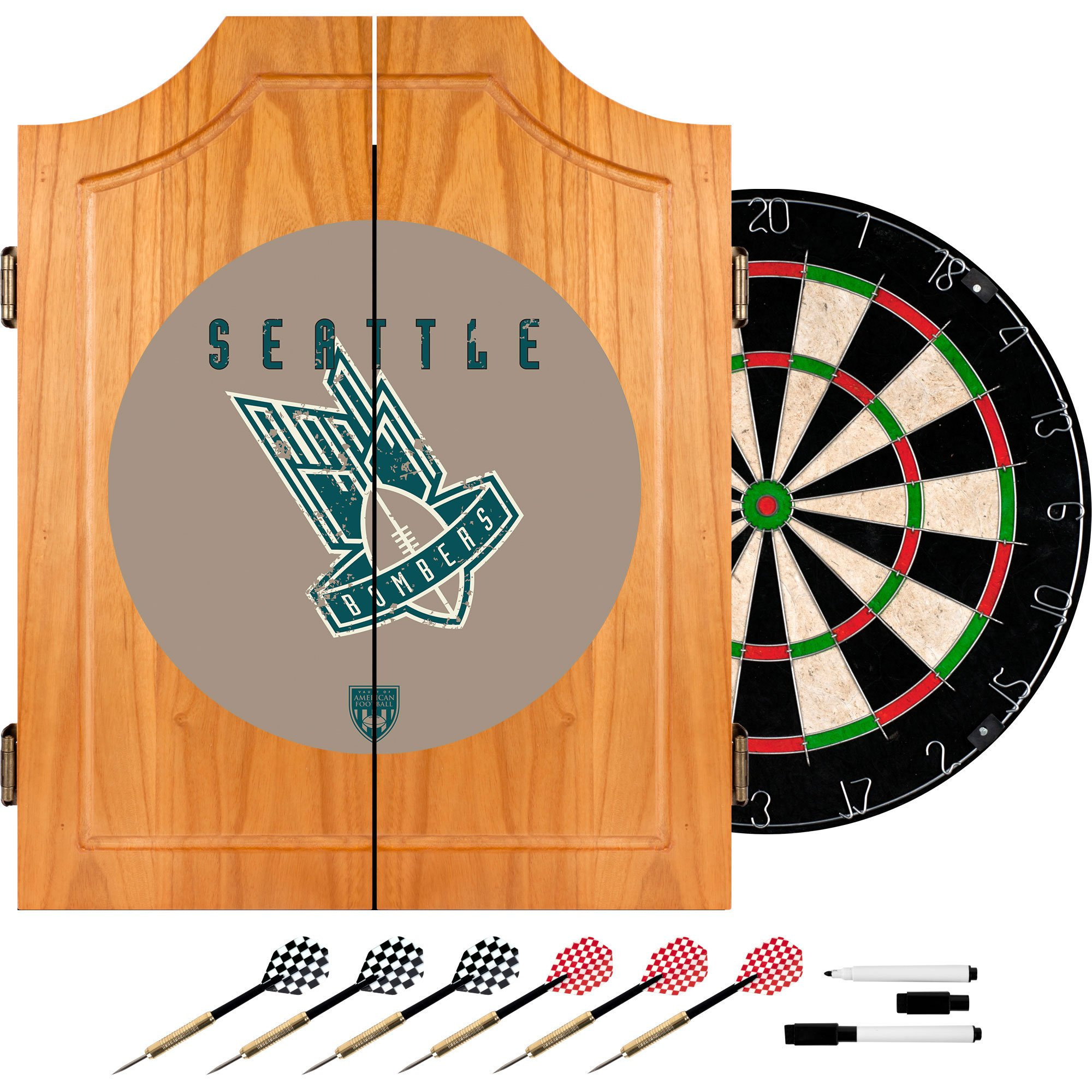 VAF Seattle Bombers Wood Dart Cabinet Set