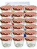 40 Sturzgläser 230 ml Marmeladengläser Einmachgläser Einweckgläser To 82 Rot Karriert Vitrea