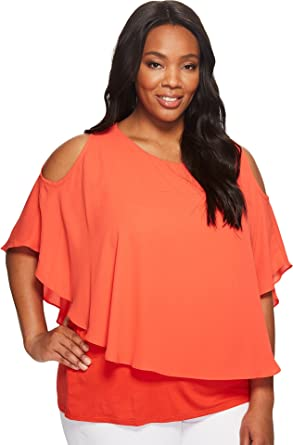 0335555c2502c Karen Kane Plus Women s Plus Size Cold Shoulder Layered Top Orange Shirt